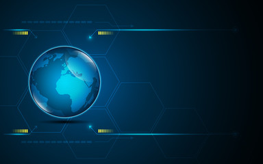 abstract global icon on digital technology networking design innovation concept background