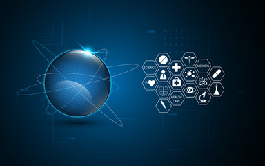 abstract networking global technology health care innovation concept background