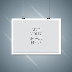 Vector paper frame mockup hanging with paper clip