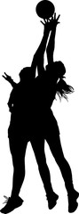 Silhouette of girls ladies netball players competing for ball in