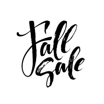 Fall Modern calligraph card. Hand drawn lettering design. Ink illustration. Autumn poster. Vector illustration