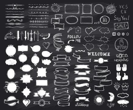 Chalk hand drawn sketch elements on chalkboard, vector  illustration, doodle graphic line elements, vintage style