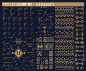 166 elements set. Corners, accents, borders and patterns set