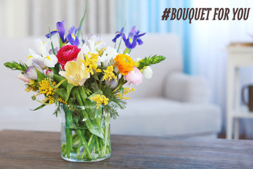 A bouquet of fresh flowers in a glass vase