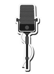 flat design single microphone icon vector illustration