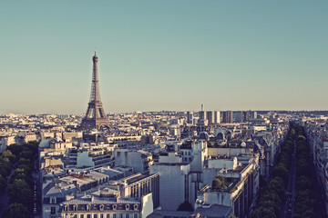Vintage Paris skyline with Eiffel Tower