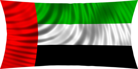 Flag of UAE waving in wind isolated on white