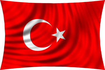Flag of Turkey waving in wind isolated on white