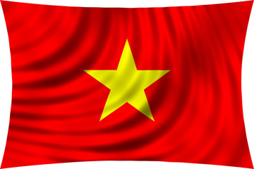Flag of Vietnam waving in wind isolated on white