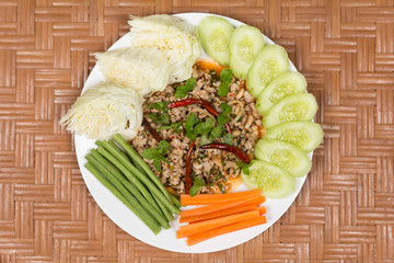 Top View Spicy Minced Meat