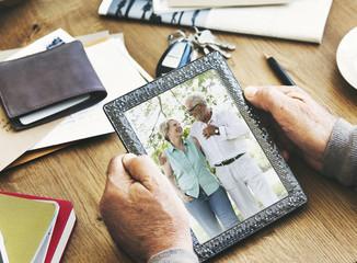 Senior Couple Photo Memories Photo Frame Concept