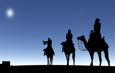 Three Wise Men Follow Star silhouette.