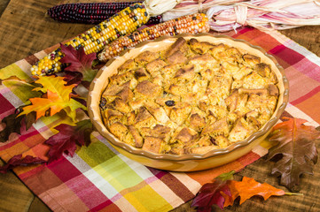 Photo: Raisin bread pudding desert with fall decorations