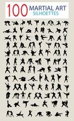 100 Silhouette of Martial Arts, art vector design