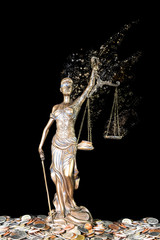Lady Justice holding imbalanced scale becoming dust isolated on black background (Injustice concept)