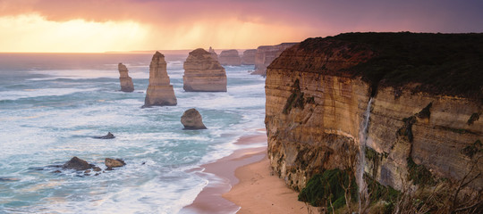 12 Apostles at Great Ocean Road in Australian in the late afternoon.