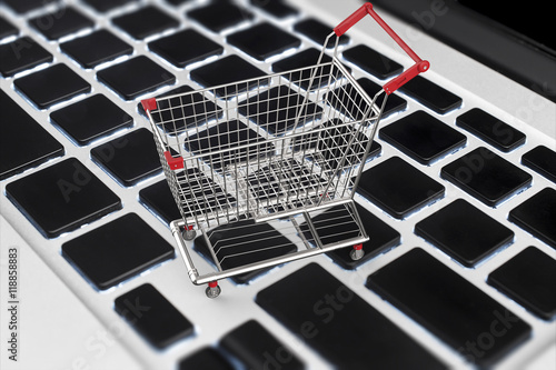 Online Shopping Concept With 3d Rendering Shopping Cart