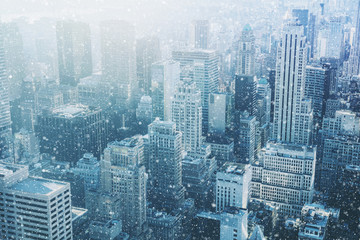 Snow in New York City - fantastic image,  skyline with urban sky Wall mural