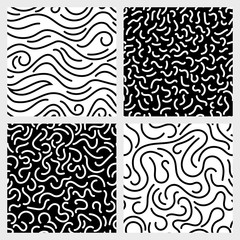 Hand drawn marker, ink, line, stroke, squiggle vector seamless patterns