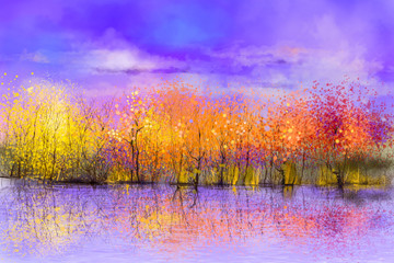 Aluminium Prints Purple Oil painting landscape - colorful autumn trees. Semi abstract image of forest, trees with yellow, red leaf and lake. Autumn, Fall season nature background. Hand Painted landscape, Impressionist style