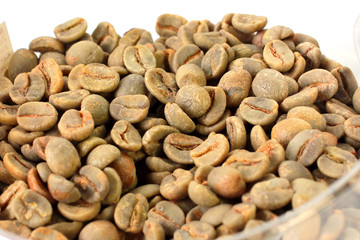 green coffee beans prepared for recycling