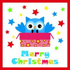 Christmas illustration with cute owl in Christmas gift box suitable for Christmas card
