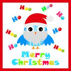 Christmas illustration with cute owl wears Santa custom suitable for Christmas card