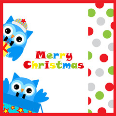 Christmas illustration with cute two owls and colorful polka dot suitable for Christmas card