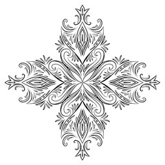 Vintage floral design element with swirls. Vector element for your creativity