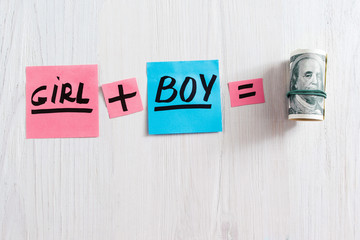 Girl plus boy equals money composition, copy space. Top view on pink and blue stickers with text and pack of money on white wooden background, free space. Concept of expence having a baby