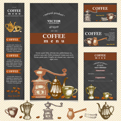 Coffee restaurant menu template business card, page template