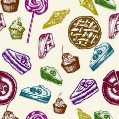 Sweets seamless pattern  bakery, chocolate, sweet baked