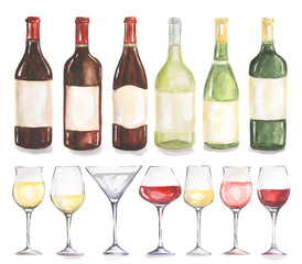 Watercolor wine bottles and glasses set. Beautiful bottles and glasses for decoration menu in restaurant or cafe. Alcoholic beverage.