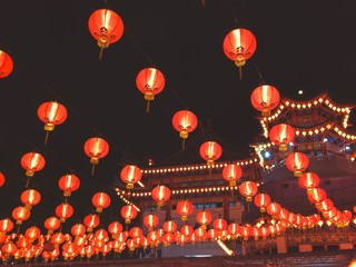 Chinese lanterns temple at night
