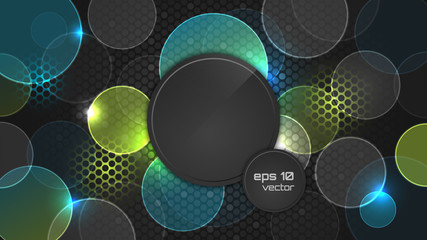 Dark abstract wallpaper with circle pattern and place for your headline.