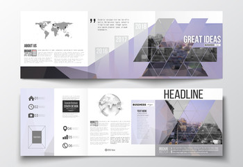 Set of tri-fold brochures, square design templates. Polygonal background, blurred image, urban landscape, modern stylish triangular vector texture