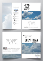 Set of business templates for brochure, magazine, flyer, booklet or annual report. Beautiful blue sky, abstract background with white clouds, leaflet cover, layout, vector illustration.