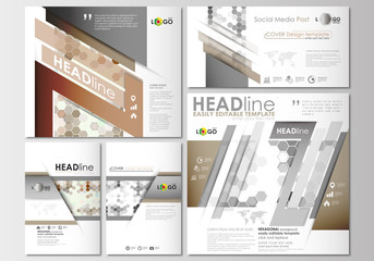 Social media posts set. Business templates. Cover design template, easy editable, flat layouts in popular formats. Abstract gray color background, modern stylish hexagonal vector texture.