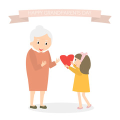 Granddaughter gives heart to grandmother. Happy grandparents day greeting background. Vector Illustration.
