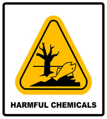 harmful chemicals keep out hazardous to aquatic environment , hazard warning danger banner , isolated vector illustration