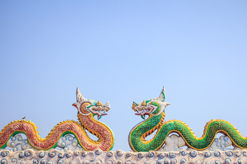 Two dragon in blue sky