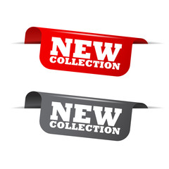 new collection, red banner new collection, vector element new collection