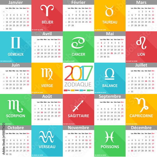 calendrier 2017 illustr les 12 signes du zodiaque dans l 39 ordre fichier vectoriel libre de. Black Bedroom Furniture Sets. Home Design Ideas