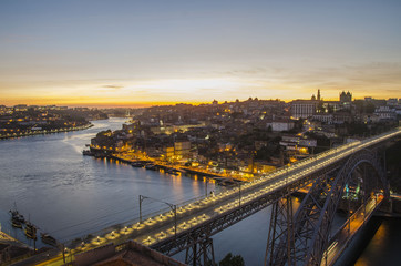 Porto sunset on Duoro river, Portugal