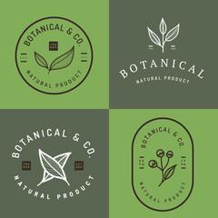 Set of badges, banner, labels and logos for botanical natural product, shop. Leaf logo, flower logo. Vector illustration.