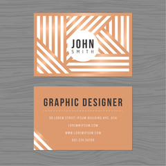Modern business card template in stripes background. Printing design template. Vector illustration.