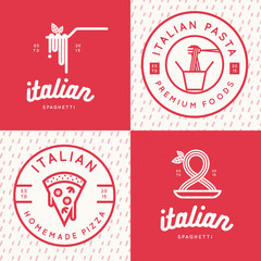 Set of italian food logo, badges, banners, emblem for fast food, pizza, spaghetti, pasta restaurant. Vector illustration.