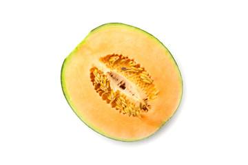 Closeup melon on white background