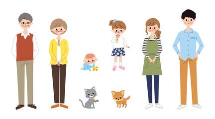 三世代家族とペット 全身