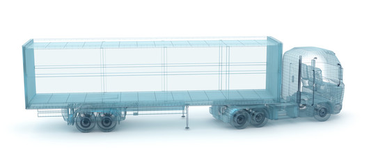 Truck with cargo container, wire model. My own design, 3D illustration